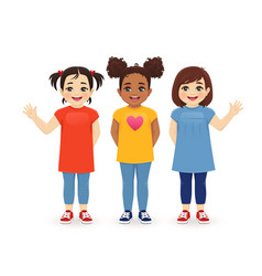 Multiethnic girls friends vector