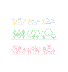 nature set trees plants and sky clouds n a vector image