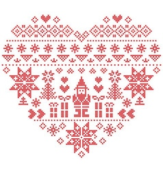 Nordic pattern in hearts shape with Santa on white vector image