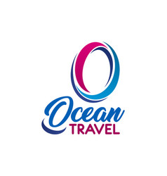 ocean travel company letter o icon vector image