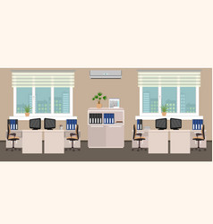 Office room interior including four work spaces vector