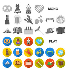 oktober festival in munich flat icons in set vector image