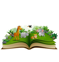 Open book with animal cartoon playing in the park vector