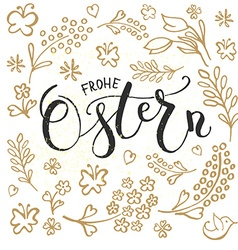 Ostern Easter in German postcard card invitation vector