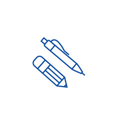 pen and pencil line icon concept pen and pencil vector image