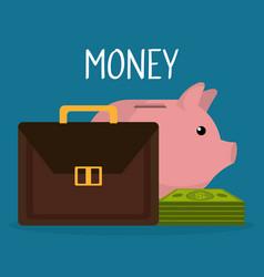 portfolio with bills and piggy money vector image