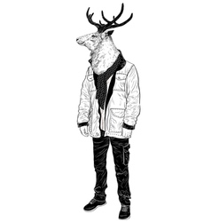 Portrait of a Hipster deer vector image