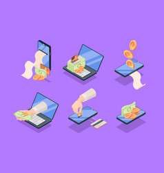 purchases and sales online applications isometric vector image