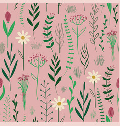 rustic seamless pattern with wildflowers vector image