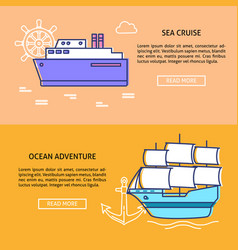 sea travel concept banner templates with place for vector image