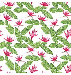 seamless composition from green leaves and red vector image