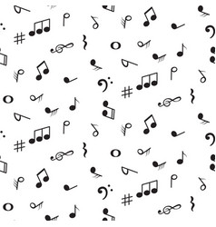 seamless pattern with music notes symbols vector image