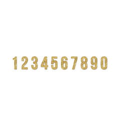 set golden numbers numbers from 0 to 9 vector image