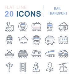 set line icons rail transport vector image