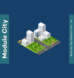 set of isometric skyscrapers street vector image