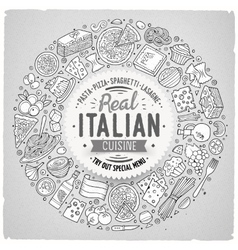 Set of Italian food cartoon doodle objects vector image