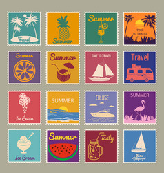 Set postage stamp summer vacation sunset vector