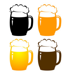 set with colorful beer mugs vector image
