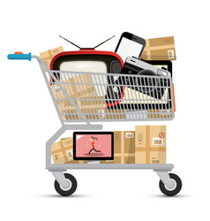 shopping cart with electronic devices and parcels vector image