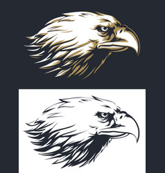 Silhouette eagle head sideview isolated vector