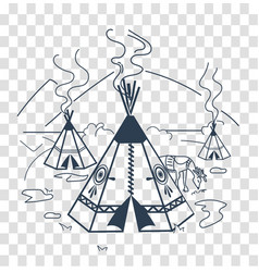 Silhouette life indigenous people vector