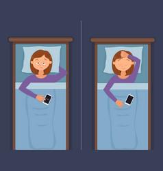 Sleepless woman face cartoon character suffers vector