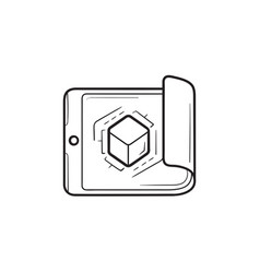 smartphone with cube inside hand drawn outline vector image