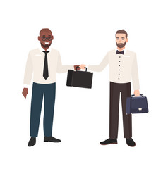 smiling bearded man passing briefcase to his vector image