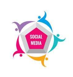 social media - logo template vector image
