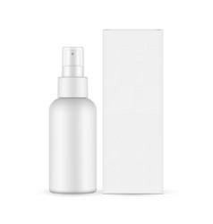 Spray bottle with transparent cap cardboard box vector