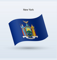 State of new york flag waving form vector