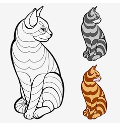 Striped cat vector