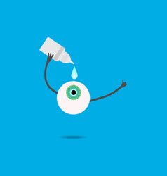 the cartoon eye is digging in drops vector image