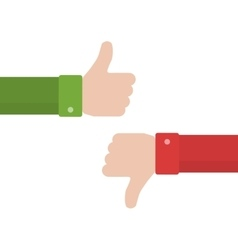 Thumbs up and thumbs down in flat style vector