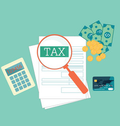 top view of magnifying glass searching tax form vector image