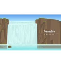 Tourism landscape background with waterfall vector