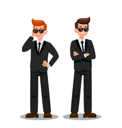 Two bodyguards on assignment cartoon characters vector
