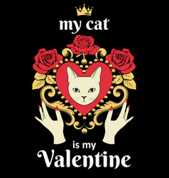 valentine card concept white cat face in vector image