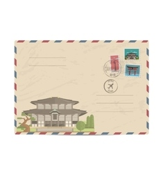 Vintage postal envelope with Japan stamps vector image