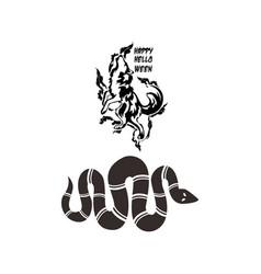 Warewolf and snake halloween element vector