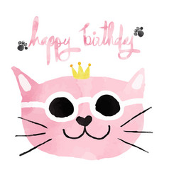 Watercolour pink funny cat with crown happy vector