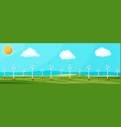 wind farm in green fields among trees vector image