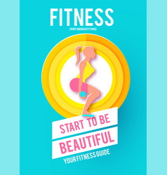 woman fitness poster template sport motivation vector image