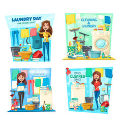 woman laundry house cleaning mop vacuum broom vector image