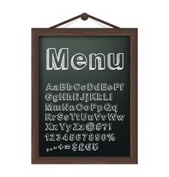 Cafe menu board with chalk alphabet vector image