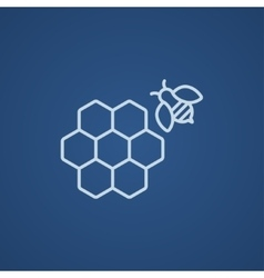Honeycomb and bee line icon vector image vector image