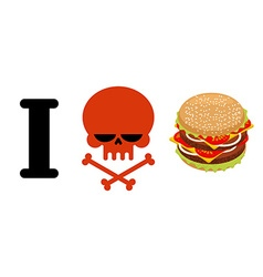 I hate hamburger Skull symbol of hatred and great vector image vector image