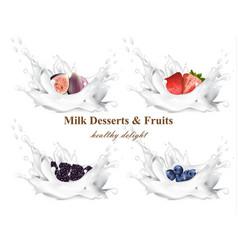 milk splash with fruits realistic set vector image