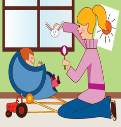 mom-with-baby vector image