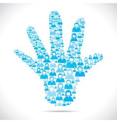open hand with group of people stock vector image